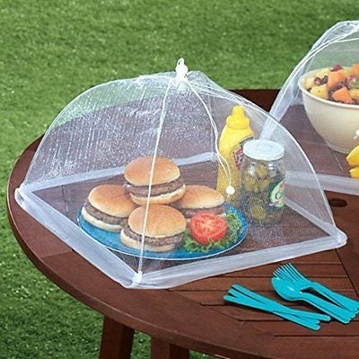 (Set of 4) Large Pop-Up Mesh Screen Food Cover Tents - Reusable