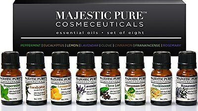Aromatherapy Essential Oils Set of Top 8 from Majestic Pure, Therapeutic Grade