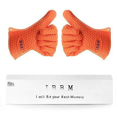 Silicone Heat Resistant Grilling Barbecue Gloves by IBBM - 2pc Set - Orange