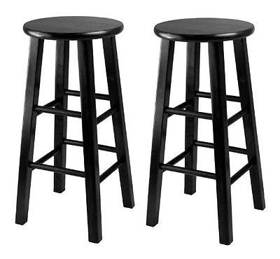 Winsome 24-Inch Square Leg Counter Stool Black Set of 2