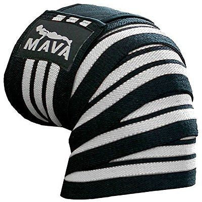 Mava Sports Knee Wraps (Pair) with Velcro for Cross Training WODs Gym Workout