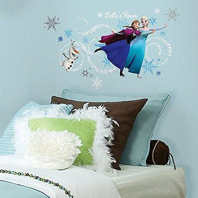 Custom Headboard Featuring Elsa Anna and Olaf Peel and Stick Giant Wall Decals