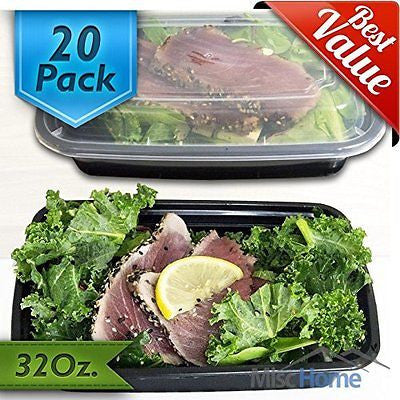 [20 Pack] 32 Oz. Meal Containers BPA Free Plastic  Food Storage Container