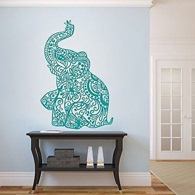 MairGwall India wall art Elephant Yoga Wall Decals Living Room Decor Bedroom