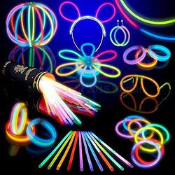 100 Glow Stick Party Pack- 8 HotLite Premium bracelets,necklaces