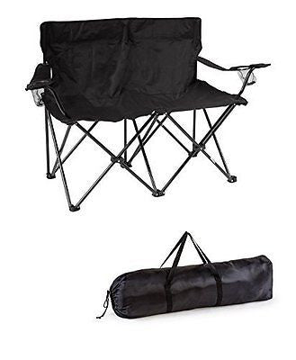Trademark Innovations Loveseat Style Double Camp Chair with Steel Frame, Black