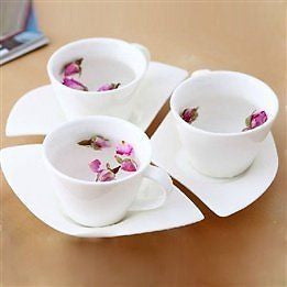 Ceramic Petal Shape Saucer with Spoon Tea Cup Set 9Pcs