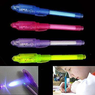 Dazzling Toys Invisible Ink Pen Built in UV Light Pack of 12 Magic Marker Spy