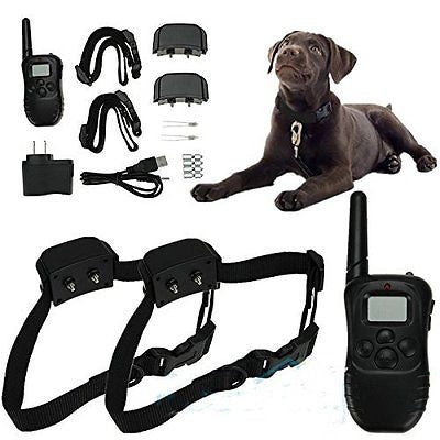 Rechargeable Waterproof LCD 100LV Level Shock Vibra Remote 2 Dog Training