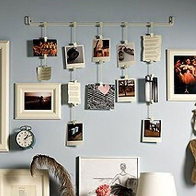 Wall Mount Hanging Photo Organizer Display Rail with Clips and Chains , White