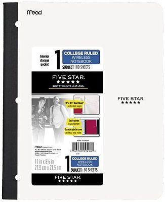 Five Star Wireless Notebook, College Ruled, 1 Subject, 8.5 x 11 Inches