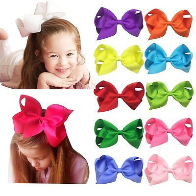 "Four Sizes 3""4""5""6""Grosgrain Ribbon Boutique Hair Bows Alligator Clips for Baby"