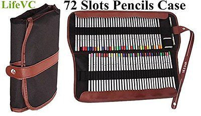 Colored Pencils Holder,LifeVC? 72 Pencils Case,Canvas Roll up Wrap Bag Pouch