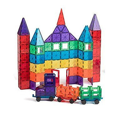 Playmags 100-Piece Clear Colors Magnetic Tiles Deluxe Building Set