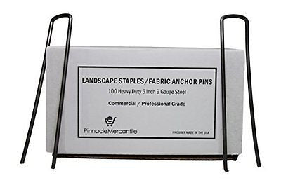 100 Heavy Duty Landscape Staples / Fabric Anchor Pins - 6 Inch - 9 Gauge Steel