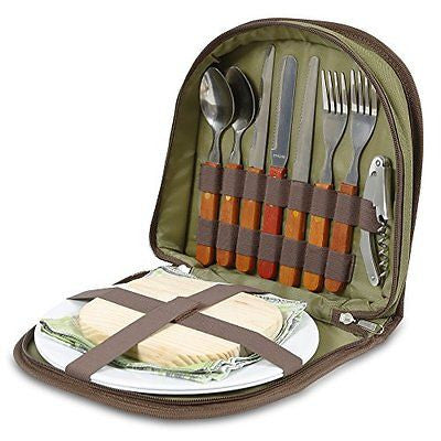 Bright Outdoors Picnic Set for 2 - Compact wallet to fit basket or bag