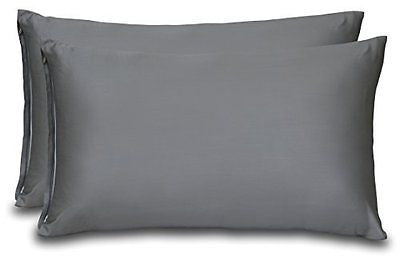 Cotton Sateen Zippered Pillowcase - 2 Pack (QUEEN, GREY) - Sateen Pillow