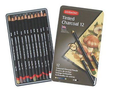 Derwent Tinted Charcoal Pencils, 4mm Core, Metal Tin, 12 Count (2301690)