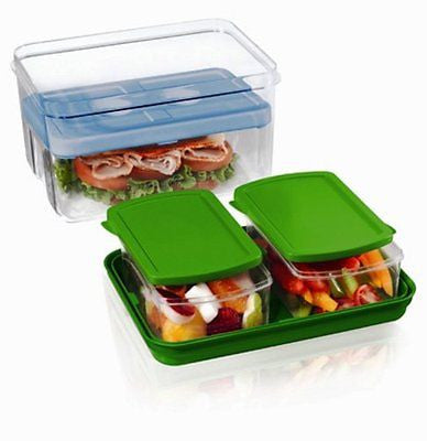 Fit & Fresh Lunch on the Go Set with Ice Pack 3 Reusable Containers with Lids