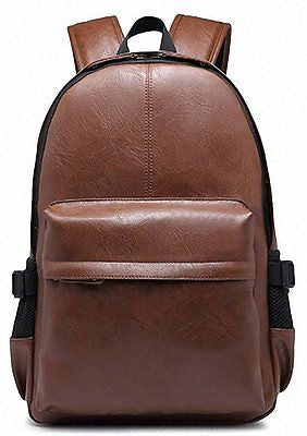 Vintage PU Leather Backpack School College Bookbag Laptop Computer Backpack