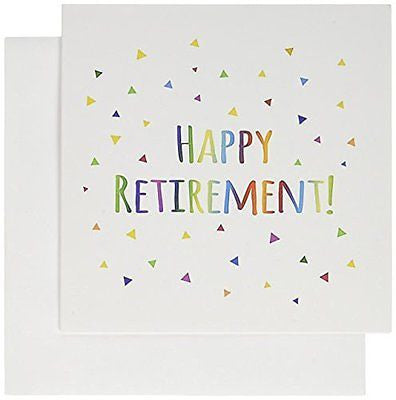 Happy Retirement colorful text celebrating retirement- Greeting Cards