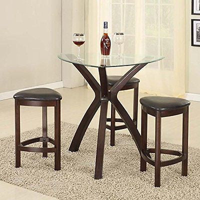 Roundhill Furniture 4-Piece Triangle Solid Wood Bar Table Stools Set Espresso