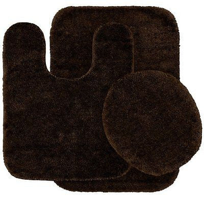 Garland Rug 3-Piece Traditional Nylon Washable Bathroom Rug Set, Chocolate