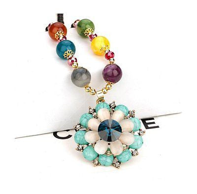 Diamond Accented Blue Turquoise Opal Crystal Bohemia Flower Pendant Color