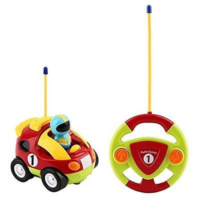 YKS Cartoon R/C Race Car Radio Control Toy for Toddlers and Kids (Red)
