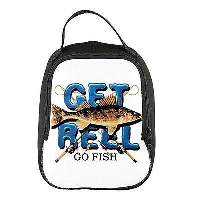 Neoprene Lunch Bag Get Reel Go Fish Fishing Fisherman