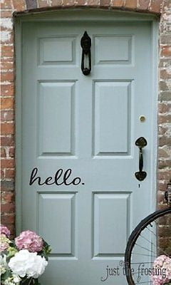 "Hello in Cursive Wall Art Sticker Vinyl for Door 4.5"" X 16"""