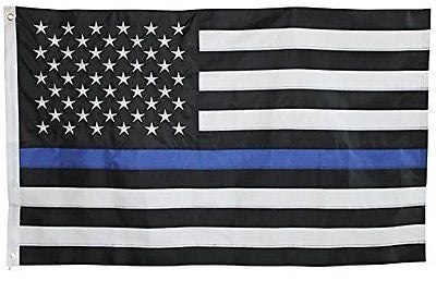 Thin Blue Line Flag - 3X5 Foot with Embroidered Stars and Sewn Stripes - Black