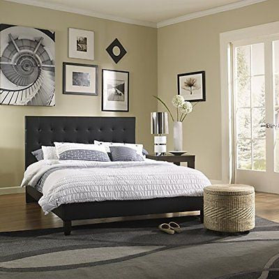 Metro Shop Sleep Sync Waverly Upholstered Black Leather Platform Bed-Queen