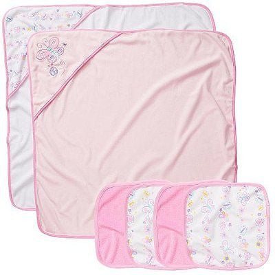 Koala Baby Girls' 2 Pack Towel and 4 Pack Washcloth Set - Pink Butterfly