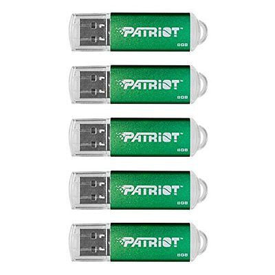 Patriot Memory 8GB Pulse Series USB 2.0 Flash Drive, 5 Pack, Green (PSF8GXPPG5PK