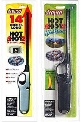 2 Pack Combo Calico Hot Shot and Standard Wind resistant Lighter Safe
