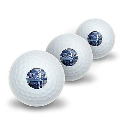 Blue Computer Motherboard - Processor CPU Memory Novelty Golf Balls 3 Pack