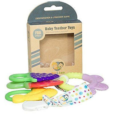Teething Toys: Baby Infant and Toddler WITH Pacifier Clip / Teether Holder, Best
