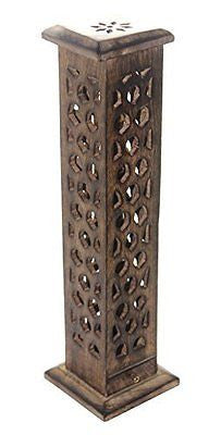 Govinda? Carved Wood Square Tower Incense Burner w/Slide-Out Ash Catcher - Flat