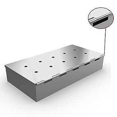 Smoker Box for BBQ Grill Wood Chips - 25% THICKER STAINLESS STEEL WON'T WARP