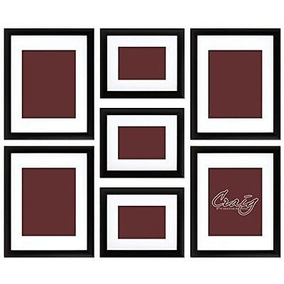 Craig Frames 1WB3BK Picture Frame 7-Piece Wall Set, Black Frames, White Display