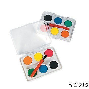 Mini Kids Watercolor Paint Sets with Brush - 12 sets