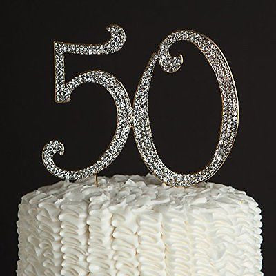 50 Cake Topper for 50th Birthday or Anniversary - Party Supplies and Decoration