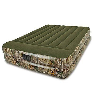 Intex Realtree Pillow Rest Raised Airbed with Built-in Electric Pump - Queen