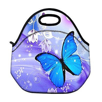 Blue Butterfly Thermal Neoprene Kids Insulated Carry Tote Picnic Storage Bag