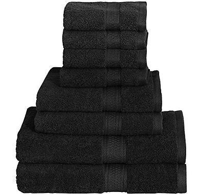 8 Piece Towel Set (Black) 2 Bath Towels 2 Hand Towels & 4 Washcloths