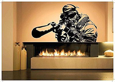 Wall Room Decor Art Vinyl Sticker Mural Decal OPS Soldier Shooter Sniper Big