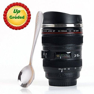 Coffee Mug - Camera Lens - Stainless Steel Insulated Cup with Lid - 13.5oz