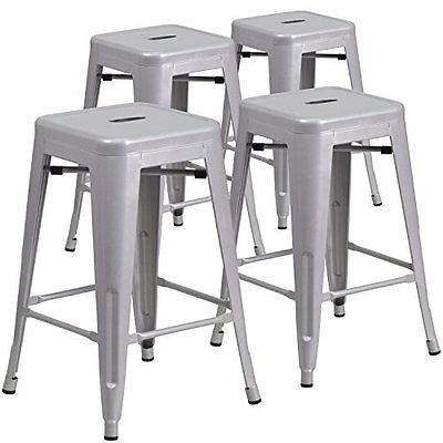 4 Pk. 24'' High Backless Silver Metal Indoor-Outdoor Counter Height Stool