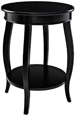 Powell Furniture Round Table with Shelf Black